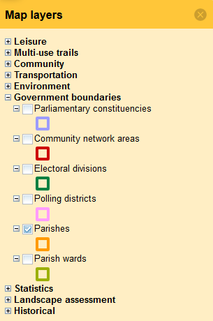 Cornwall council Interactive Map Layers Parishes